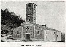 CASTAGNETO PO: La Chiesa di San Genesio nel 1899. Torino.Piemonte. Stampa Antica