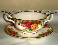English Royal Albert Old Country Roses Soup Coupé bowl & plate Set