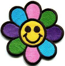 Flower power smiley face boho hippie retro love applique iron-on patch new S-554
