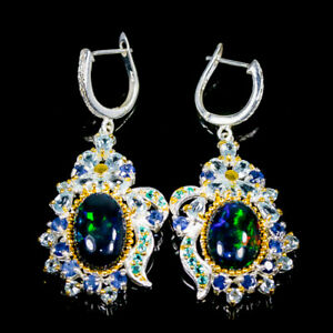 16 ct+ Recommend IF Quality AAA Black Opal Earrings Silver 925 Sterling/E45463