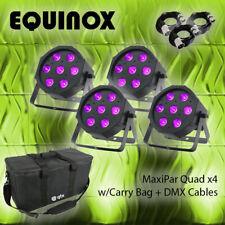 More details for equinox maxipar quad dj disco party lights (x4) w/carry bag + dmx cables package