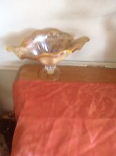 Vintage Amber Glass Candy Dish,planter,candle holder