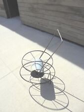 "New listing metal hose reel with handle flower garden yard industrial decor 2 20"" wheels"