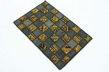 Vintage Patchwork Oriente Alfombra lodo oro chic 100x60 anudada a mano 167108