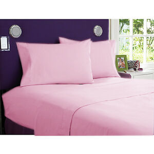 1000 TC EGYPTIAN COTTON BEDDING SET 4 PCs FITTED SHEET+DUVET COVER PINK COLOR