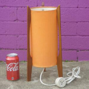 Vintage Orange Rocket Table Lamp Atomic Retro Mid Century Modern Light Teak Old