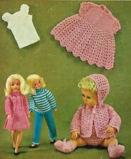 "Dolls clothes knitting & crochet pattern 12 -14"". Laminated copy. (V Doll 81)"