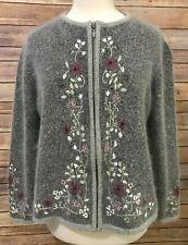 Dress Barn Grey Cardigan Sweater Large Floral Embroidery Silk Angora Fuzzy Zip