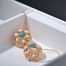 18k yellow gold pearl Turquoise stud dangle drop hook half ball hollow earrings