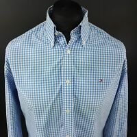Tommy Hilfiger Mens Shirt MEDIUM Long Sleeve Blue Regular Fit Check Cotton