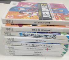 Nintendo Wii 8 Game Bundle Just Dance 2 Big Brain Fit Plus Little King's #271