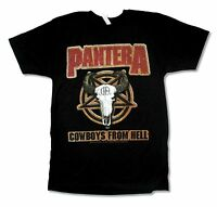 PANTERA LEATHER PATCH IMAGE COWBOYS FROM HELL BLACK T-SHIRT NEW OFFICIAL