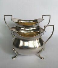 More details for antique art deco gilded silver plate footed sugar bowl & creamer jug set