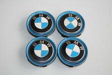 4 x Original BMW Felgendeckel Nabendeckel blau / 57mm