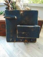 vintage primitive inspired RUSTIC WOOD WALL DECOR distressed navy blue