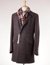 NWT $1795 BOGLIOLI Brown Woven Wool-Camel-Cashmere Overcoat Eu 54 (fits US 42 R)