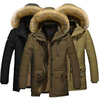 Mens Winter Warm Down Cotton Jacket Fur Collar Thick Hooded Coat Outwear L-4XL