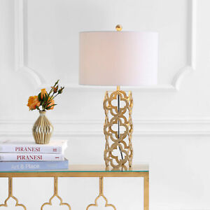 Oliver 26.5  Metal Quatrefoil LED Table Lamp, Gold By JONATHAN Y
