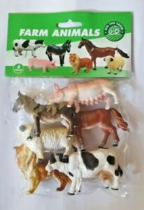 6 x FARM ANIMALS ANIMAL SET PLASTIC CHUNKY FIGURES AVERAGE 8CM LENGH 5CM HEIGHT