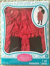 """Doll Red Ruffled Top & Leggings By Creatology Fits American Girl or 18"""" Doll NEW"""