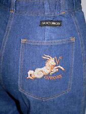 Vtg Fancy Props Womens Jeans Astrology Capricorn dark denim embroidered S Hippie