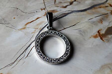 Open Circle Pendant Inlaid with Round Swarovski Crystals  Stainless Steel