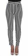 NEU DOLCE & Gabbana Jeans schwarz weiß gestreift Baumwolle Stretch IT36/US2 / XS