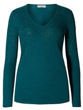 MARKS AND SPENCER PER UNA LADIES SPARKLE V NECK JUMPER WITH WOOL PETROL NEW (739