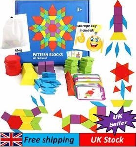 155 Pcs Wooden Jigsaw Puzzle Blocks Colorful Tangram Montessori Educational Toy