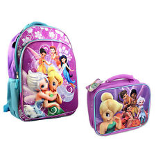 "Backpack 16"" + Lunch Bag Tote Pop Out 3D Tinkerbell Fairy Friends Violet New"