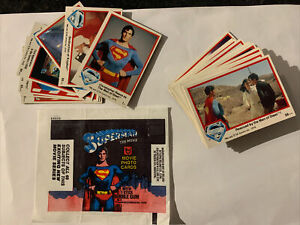 SUPERMAN THE MOVIE . FULL SET 66 series 1 cards 1-66. Topps 1978 & Wax Wrapper