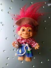 Russ Troll Doll Vintage 5� Red Hair Brown Eyes Hillbilly Mountain Man Hobo