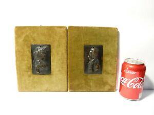 Pair 19thC Bronze Plaque Relief Portraits FERDINAND III & MARIA LUISA Tuscany