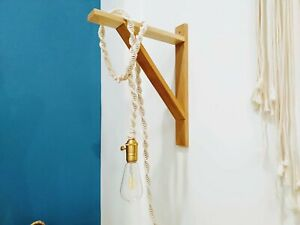 6ft Boho light cord/ macrame pendant light / black beige white Hanging lamp