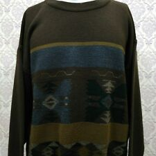 Vintage Aztec Wool Blend Sweater Mens Size L 52 Brown Pullover Giuliano Italy