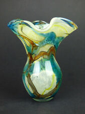 More details for mdina glass tiger pattern flared vase malta blue yellow brown bubbly unsigned