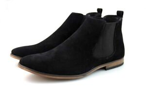 Mens Black Chelsea Boots Cushion Suede Ankle Smart Casual Slip On Shoes Size