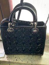 Lady Dior Borsa Vernice Nera Autentica! Ottime Condizioni
