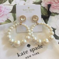 STUNNING Kate Spade New York Cream LUMINOUS PEARL HOOP Drop EARRINGS NWT
