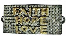 "MESMERIZING 2.35  CT. DIAMOND STUDDED ""FAITH,LOVE & HOPE"" CHARM FOR BRACELET"