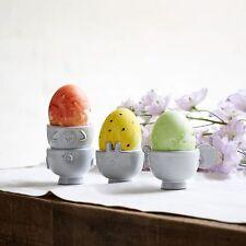 WEST ELM Spring Easter breakfast Boiled Egg Cup Set/ 4 duck rabbit sheep chicken