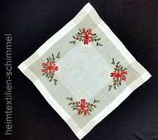 STICKEREI Tischdeckchen WEIHNACHTEN Tischdecke KERZE Mitteldecke Leinen 60x60cm