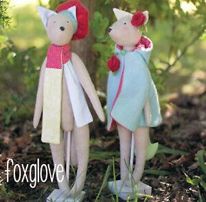 FOXGLOVE - Sewing Craft PATTERN -  Felt Rag Doll Scarf Cape Fox