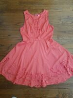 Modcloth Ya Los Angeles Womens Coral Pink Dress Floral Laser Cutout Size Large