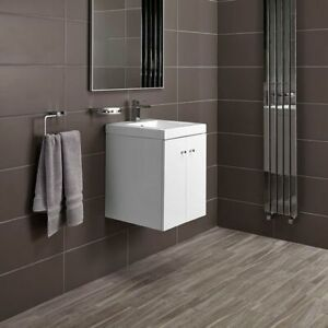 ALPINE DUO 400MM BASIN AND WALL HUNG VANITY UNIT - GLOSS WHITE | RRP: £229