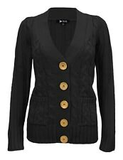 Women's Casual Long Sleeve Button Down Cardigan Cabel Knitted Sweater HB3134