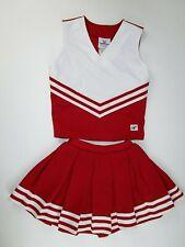 "Girls Child Cheerleader Uniform Outfit Costume 28"" Top Elastic Waist Skirt Red"