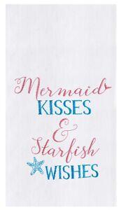 Mermaid Kisses and Starfish Wishes Flour Sack Kitchen Towel