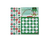 Lutin Noël Carte Stickers Récompense Tableau Rouge Vert Enfants Garçons Filles