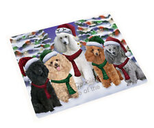 Poodles Dog Christmas Family Tempered Cutting Board Large DB807